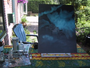 Painting outdoors, but not the landcape before me.